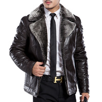 Men's clothing fur one piece leather clothing male thickening turn-down collar leather jacket sheepskin genuine leather clothing
