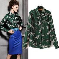 za 2014 brand new women fashion European and American style retro print long-sleeved chiffon blouse green