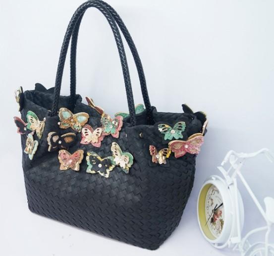 2014 autumn and winter fashion butterfly hand knitting bag big shoulder bag shopping bag()
