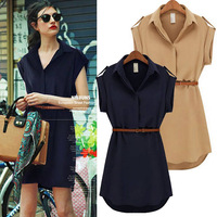 2014 New Cool Women Summer Dress Solid Color Female Brand Casual Dress with Belt Fashion Slim Dress Trend Free Shipping