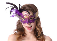 Free  Shipping Mask Halloween masquerade party Venice cos beautiful princess half face party feather mask