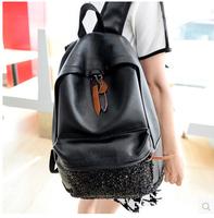 2014 new PU black sequined shoulder bag retro British female backpack schoolbag