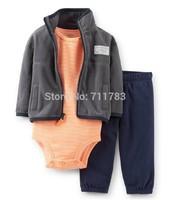 Retail 2014 new Carters Baby 3 pcs microfleece cardigan set, carter's baby boy layette set., original,high quality free shipping