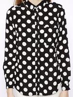 2014 Autumn New Women Casual Cotton Black Polka Dot Shirt Long Sleeve Loose Shift Blouse
