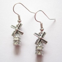 20pair *CUTE 3D WINDMILL MOVING SAIL* Tibetan Silver SP Earrings VINTAGE STYLE Gift Bag 33MM LK700