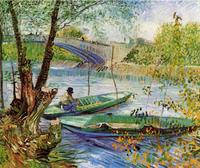 Original(Van gogh) Art print reproduction on canvas wall decor fishing in spring