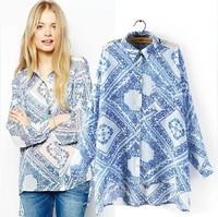 2014 Autumn New Women Casual Chiffon Vintage Oversize Floral Blue And White Porcelain Floral Loose Shift Shirt Asymmetrical