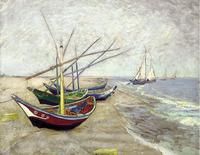 Original(Van gogh) Art print reproduction on canvas wall decor Fishing boat