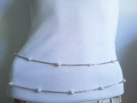 Fashion 2 Row Women Lady Pearl Body Chain Waist Belly Belt Accessories