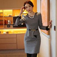 2014 autumn winter high quality work wear OL outfit slim puff sleeve long-sleeve woolen one-piece dress plus size XXXL new