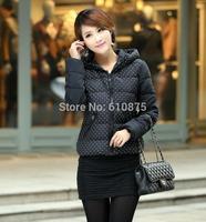 Women plus size winter hooded long-sleeved zipper dots spliced down jacket R96