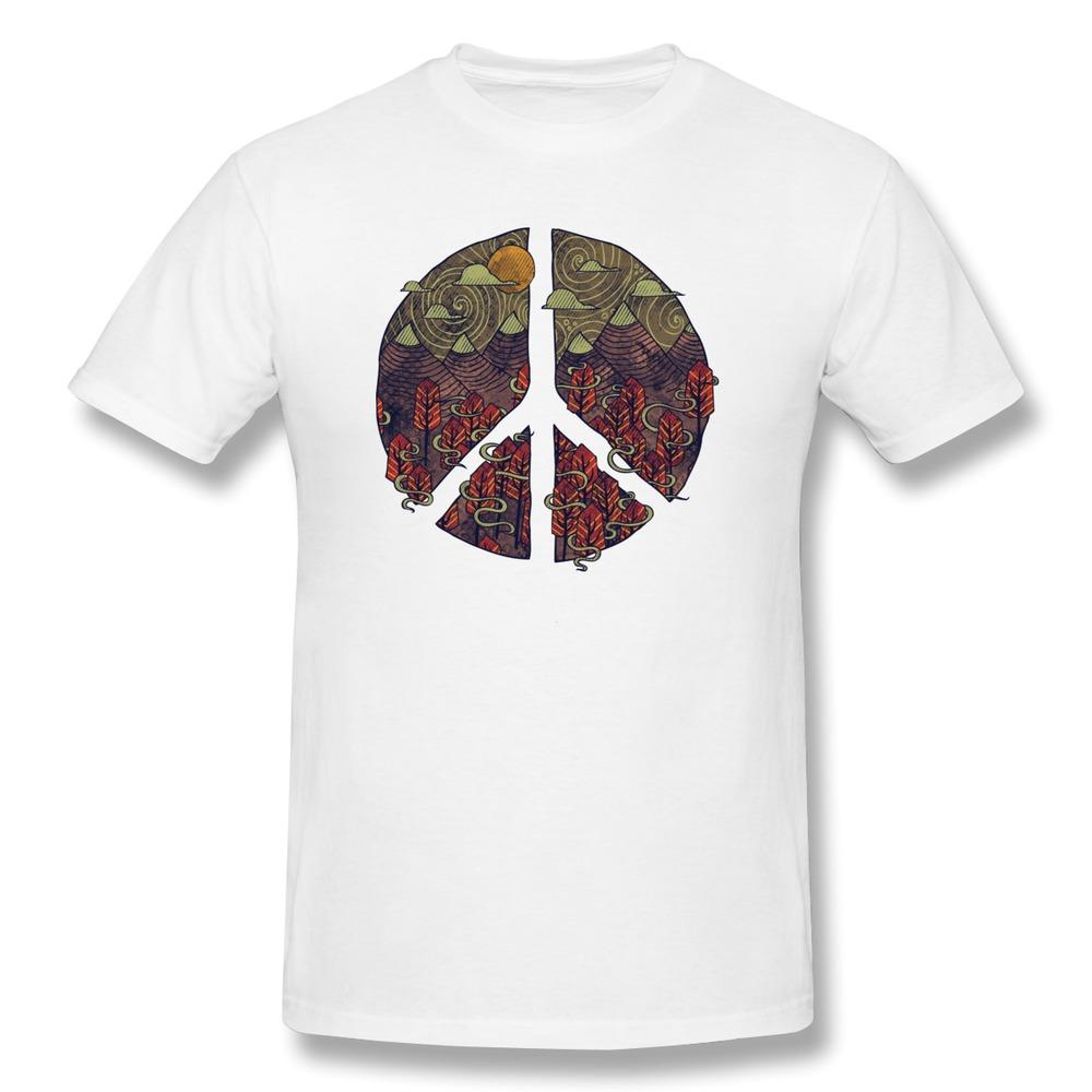 Print Short Sleeve Men T Shirt Peaceful Landscape Funny High School T-Shirts Men's Short-Sleeve(China (Mainland))