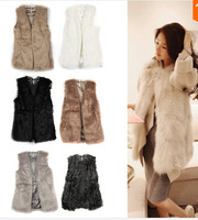 Free shipping autumn and winter women thermal faux vest fur cape vest medium-long outerwear wholesale