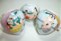 ES029 Jingdezhen China ceramic bird feeder cup,Hand painted, heart shape,Chunxitu design,3Pcs one sets,Free shipping