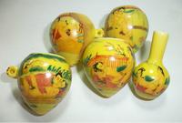 ES028 Jingdezhen China ceramic bird feeder cup,Hand painted, heart shape,Chunxitu design,5Pcs one sets,Free shipping
