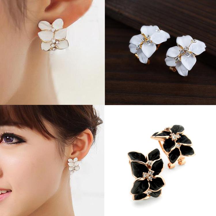 Chic Women Gardenia Flower Crystal Ear Studs Rhinestone Earrings Ear Hoop Buckle Fashion Jewelry Drop Shipping EAR-0089(China (Mainland))