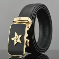 2014 men's genuine leather belt classic style star buckle belts for men