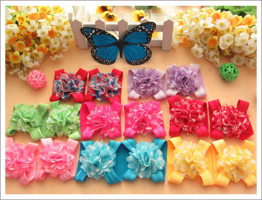 20 pares 10 cor stripe net chiffon foldover sandália bundinha meninas do bebê descalço flor sandália flor sapatos(China (Mainland))