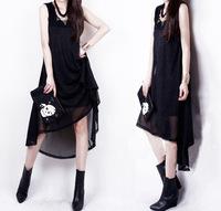 Women's Black Dress ,2014 spring summer new women clothing chiffon sexy casual dress Plus size 5XL