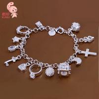 Hotsale New Fashion Plated Sterling silve Key Moon Cross  Star Bracelet  Wholesale KUNIU144