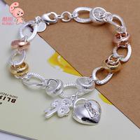 Hot Sale New Fashion Plated Sterling silve Crystal Bracelet  Wholesale KUNIU233