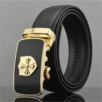 2014 men's genuine leather belt classic SHIELD buckle belts for men