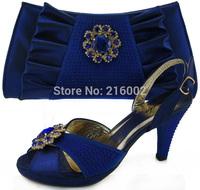 Ladies' high heel crystal wedding dress shoes with matching evening clutch in ROAYL BLUE, PEACH, ORANGE, FUSHIA. Fashion sandals