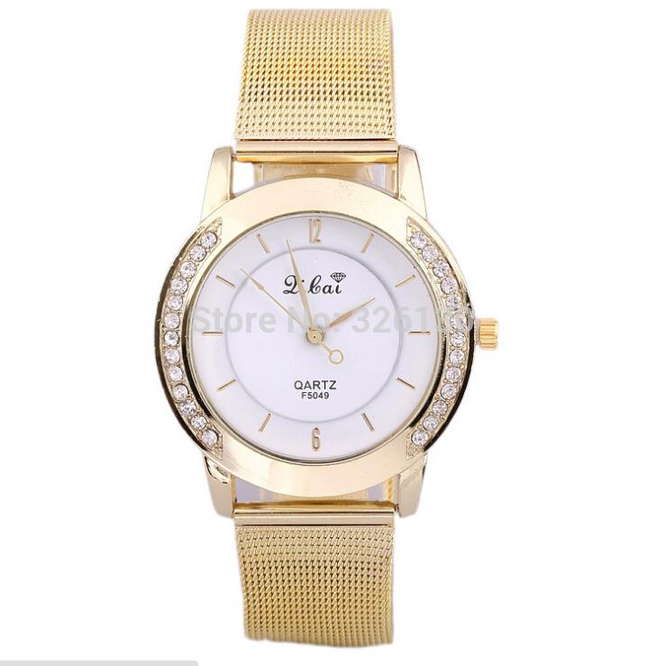 vestido novo 2014 relógios moda venda quente malha broca brilhante mulher linha de cintura relógios pulseira de relógio de ouro , frete grátis(China (Mainland))