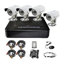 P2P HDMI 500GB 4-CH H.264 DVR KIT 4x700TVL Weatherproof IR Camera CCTV Security System