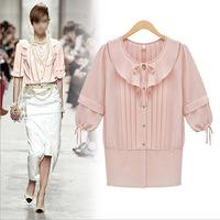 2014 Summer fashion style brand women new chiffon half sleeve shirt female doll collar ladies high quality shirts lady Y14CUC114