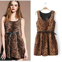A free shipping Women Slim Sexy Sleeveless Leopard Print Dress With Belt