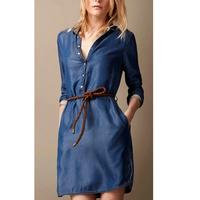 A free shipping Women New Lapel Collar Single Breasted Button Stretch Slim Denim Dress MY