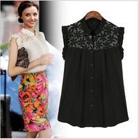 2014 Summer brand fashion ladies sleeveless chiffon shirts women o-neck puff sleeve printing casual female blouses Y14CUC123