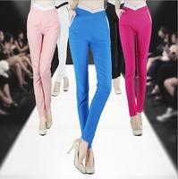 XLXXL size 2014 Autumn new plus size elastic waist candy color female cotton pencil pants women slim trousers free shipping