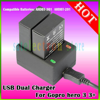 New USB Dual Charger Battery Charger for Gopro Hero 3 Hero 3+ Hero 3 Plus AHDBT-301  AHDBT-201, Free shipping & drop shipping!!
