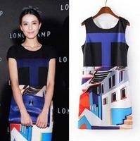 2014 European Style Women Summer Chiffon Dress Geometric Printing O-Neck Sleeveless Patchwork Pinched Waist Clothes CL1907