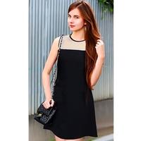A free shipping Women Patent New Sleeveless Knit Chiffon Color Mapping Dresses