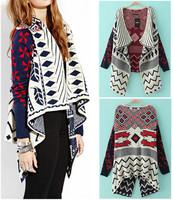 Spring Autumn Women Vintage Ethnic Geometric Irregular Scarf Collar Knitted Cardigans Loose Sweater Knitwear Jacket Coat