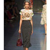 A free shipping Women Show Style Print Tops Spot Pencil Long Skirts Fashion