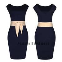 Womens Vintage Business Evening Party Mini Bodycon Dress Navy Blue Stretch Pencil Career Dress b14 SV004647