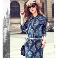 A free shipping Women Floral Print Mid Sleeve Cowl Neck Slim Vintage Long Denim Dresses MY