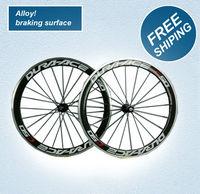 alloy braking surface, C50 bike wheels 50mm wheels road / racing carbon fiber bicycle wheels