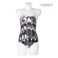 Summer 2014 Women Swimwear One Piece Sexy Swimsuit Women Beach Dress Black and White Paint Printing Pattern YQ40632