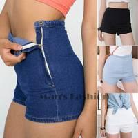 2014 women shorts Summer Women Slim High Waist Denim Jeans Shorts Hot Tight A Side Button SV004558