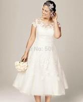 Hot Sale Fashion Sheer Jewel Applique vestido de casamento A-Line Short Sleeve Tea Length Tulle Plus Size Wedding Dress 2014
