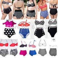 Retro Swimsuit Swimwear Push UP PIN IN Polka DOT Bandeau High Waisted Bikini Set Women Beachwear Bikinis Bathsuit Free Shipping