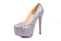 2014 new hot selling big size fashion silver glitter gz spike high heels platform women pumps shoes wilo pumpen