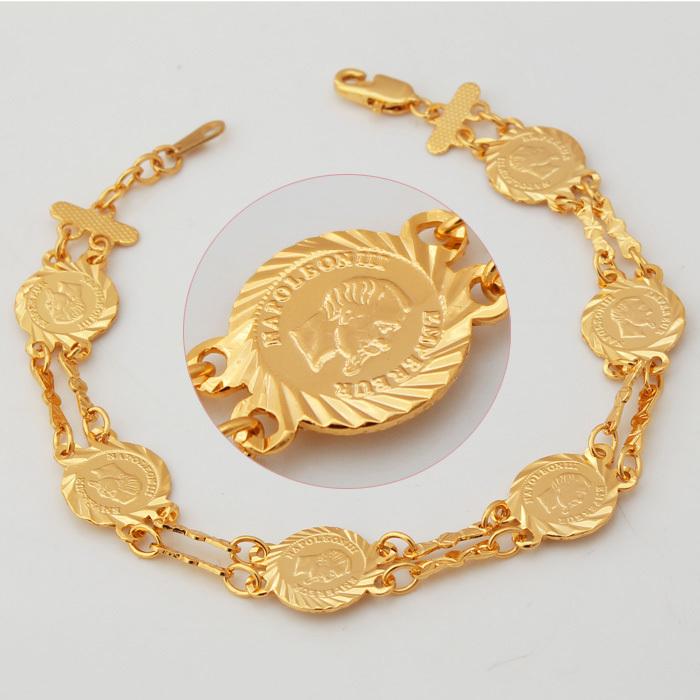 Rock Bracelet New Napoleon Coin Power Balance Bracelet 18K Real Gold Plated Fashion Bracelets Bracelets Bangles (VITO H5513)(China (Mainland))