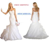E14 2014 fashionable white bride organza wedding dress train plus size custom made bridal gown gowns vestido de noiva casamento