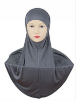 H755 simple plain two pieces cotton jersey muslim hijab,fast delivery,assorted colors